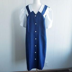 1980s Cue Fashions Blue & White Dress